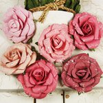 Prima - Winter Rose Collection - Flower Embellishments - Cherry Frost