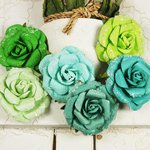 Prima - Winter Rose Collection - Flower Embellishments - Glacier