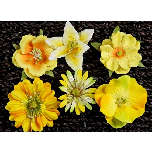 Prima - Melange Collection - Flower Embellishments - Yellow, CLEARANCE