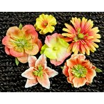 Prima - Melange Collection - Flower Embellishments - Sunset, CLEARANCE