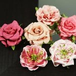 Prima - Lilliput Rose Collection - Flower Embellishments - Teaberry