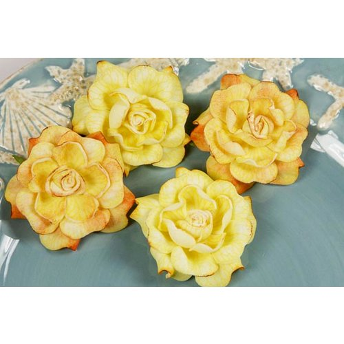 Prima - Exotic Gardenia Collection - Flower Embellishments - Asia Gold, CLEARANCE
