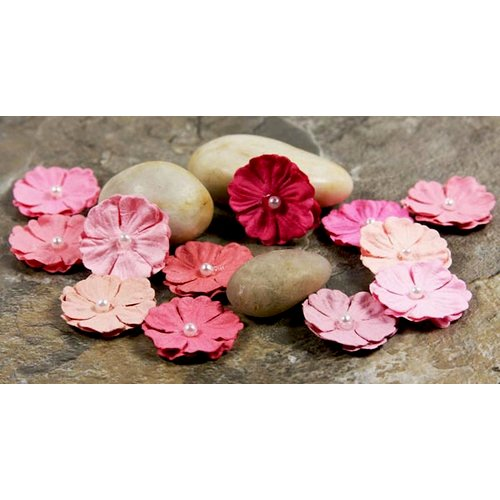 Prima - Pearl Penache Collection - Mulberry Flower Embellishments - Exotic Pink, CLEARANCE