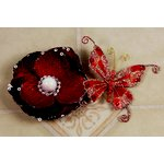Prima - Andorra Collection - Jeweled Butterfly and Flower Embellishments - Red Pearl