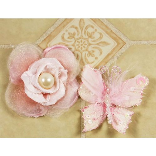 Prima - Andorra Collection - Glittered Butterfly and Flower Embellishments - Sheer Pink