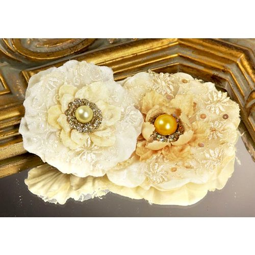 Prima - Grand Dame Collection - Fabric Flower Embellishments - Candle Glow