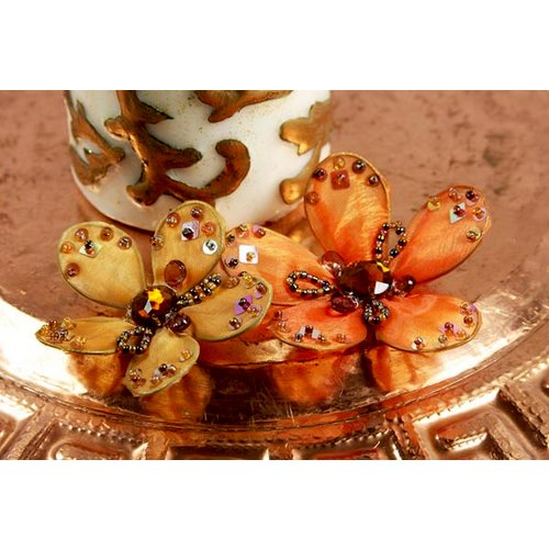 Prima - Caravan Collection - Sheer Fabric Flower Embellishments - Desert Sun, CLEARANCE