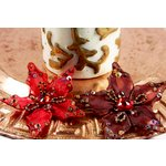 Prima - Caravan Collection - Sheer Fabric Flower Embellishments - Morrocco Red, CLEARANCE
