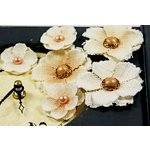 Prima - Calcutta Minis Collection - Layered Fabric Flower Embellishments - Seashell