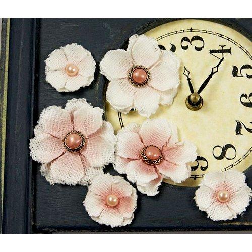 Prima - Calcutta Minis Collection - Layered Fabric Flower Embellishments - Porcelane