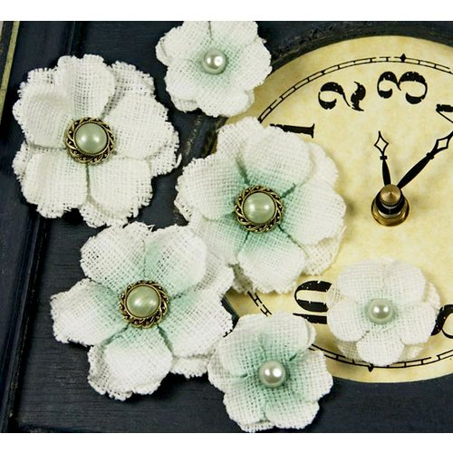 Prima - Calcutta Minis Collection - Layered Fabric Flower Embellishments - Willow, CLEARANCE