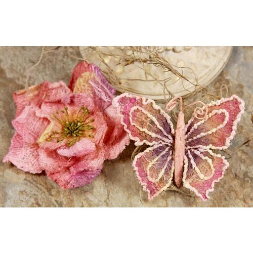Prima - Bengali Blooms Collection - Butterfly and Flower Embellishments - Mauve, CLEARANCE