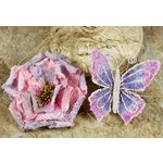 Prima - Bengali Blooms Collection - Butterfly and Flower Embellishments - Dawn Sky, CLEARANCE