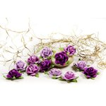 Prima - Fairytale Roses Collection - Miniature Mulberry Flower Embellishments - Purple
