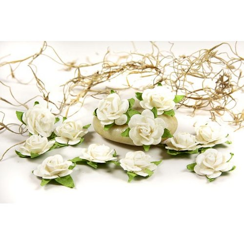 Prima - Fairytale Roses Collection - Miniature Mulberry Flower Embellishments - French White