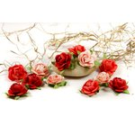 Prima - Fairytale Roses Collection - Miniature Mulberry Flower Embellishments - Coral