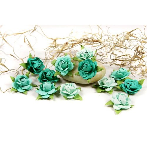 Prima - Fairytale Roses Collection - Miniature Mulberry Flower Embellishments - Teal
