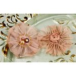 Prima - Zazi Collection - Fabric Flower Embellishments - Clay, CLEARANCE