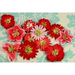 Prima - Love Story Collection - Flower Embellishments - Kissing Red, CLEARANCE