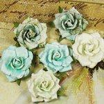 Prima - Belle Artes Collection - Mulberry Flower Embellishments - Aquarius