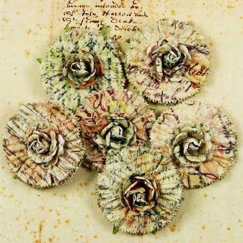Prima - Belle Arte Collection - Mulberry Flower Embellishments - Document, CLEARANCE