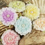 Prima - Ameruse Collection - Flower Embellishments - Pastel Perle Mix, CLEARANCE