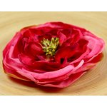 Prima - Cancan Vintage Collection - Layered Fabric Flower Embellishments - Pink Rouge, CLEARANCE