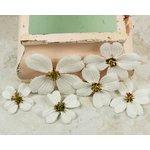 Prima - Calcutta Dogwood Collection - Fabric Flower Embellishments - Bright White, CLEARANCE