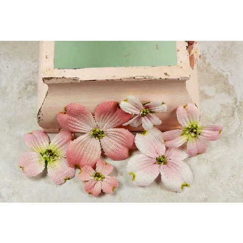 Prima - Calcutta Dogwood Collection - Fabric Flower Embellishments - Cameo, CLEARANCE