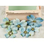 Prima - Calcutta Dogwood Collection - Fabric Flower Embellishments - Robinegg Blue, CLEARANCE