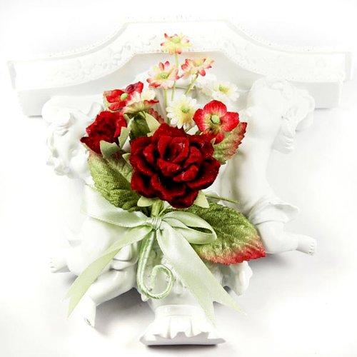 Prima - Debutantes Collection - Miniature Fabric Flower Bouquet - Rouge
