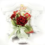 Prima - Debutantes Collection - Miniature Fabric Flower Bouquet - Rouge