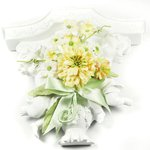 Prima - Debutantes Collection - Miniature Fabric Flower Bouquet - Creme, CLEARANCE