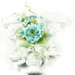 Prima - Debutantes Collection - Miniature Fabric Flower Bouquet - French Bluebird, CLEARANCE