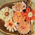 Prima - Madrigal Blossom Collection - Fabric Flower Embellishments - Peach Harmony