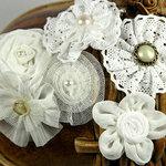 Prima - Madrigal Blossom Collection - Fabric Flower Embellishments - White Librett