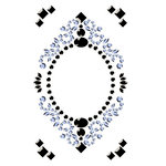 Prima - Say It In Crystals Collection - Self Adhesive Jewel Art - Bling - Vintage Frame - Dark Gray and Light Blue, CLEARANCE