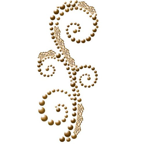 Prima - Say It In Pearls Collection - Self Adhesive Jewel Art - Bling - Swirl with Lace - Cabaret Brown
