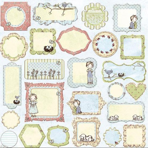 Prima - Jack and Jill Collection - Self Adhesive Glittered Chipboard Pieces - Journaling