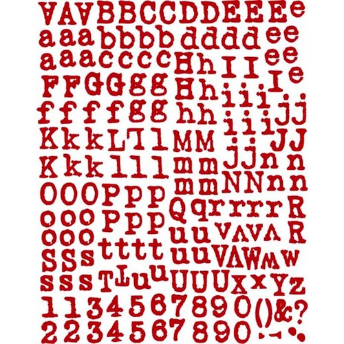 Prima - Road Trip Collection - Textured Alphabet Stickers - Red, CLEARANCE