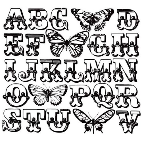 Prima - Paintable Clear Acrylic Stamps - Butterfly, BRAND NEW - click to enlarge