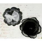 Prima - Clementine Collection - Fabric Flower Embellishments - Tuxedo, CLEARANCE