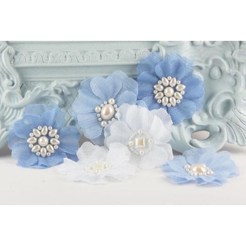 Prima - Louisa May Alcotts Collection - Fabric Flower Embellishments - Cornflower