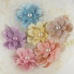 Prima - Gwendolyns Collection - Fabric Flower Embellishments - Bluebird