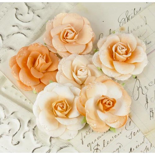 Prima - Love Letter Roses Collection - Flower Embellishments - Tiger Eyes, CLEARANCE