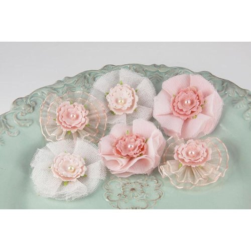Prima - Bronte Blooms Collection - Fabric Flower Embellishments - Strawberry