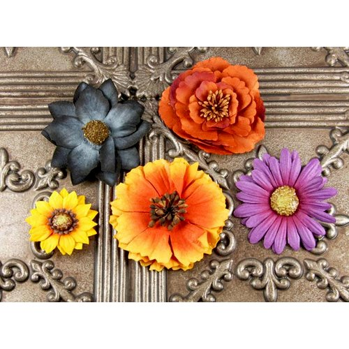 Prima - Autumn Harvest Collection - Flower Embellishments - Ginger, CLEARANCE