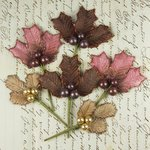 Prima - Antique Mistletoe Collection - Jeweled Embellishments - Raspberry Mocha