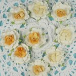 Prima - Cottage Blossoms Collection - Flower Embellishments - Canary, CLEARANCE