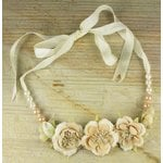 Prima - Scrapbook Jewelry Collection - Jeweled Flower Necklaces - Coconut, CLEARANCE